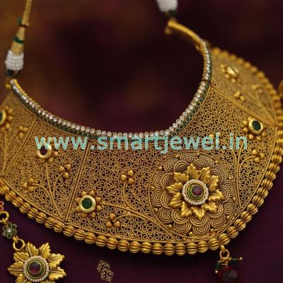 Dulhan-Necklace-Set-EarRings-Tikka-Antique-Plating-New-Design-Kundan-Finish