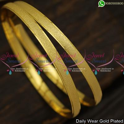 Copper Valayal Simple Gold Bangles Design Daily Wear Polish Plain Finish