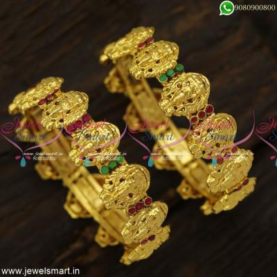Majestic  Temple Jewellery Traditional Nakshi Laxmi Gold Bangles Design Shop Online