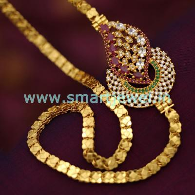 one-gram-gold-plated-chain-24-inches-ruby-emerald-mugappu-jewellery-buy-online