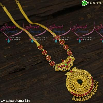 Original Spinel Ruby Stones Long Gold Necklace Traditional One Gram Gold Jewellery Designs
