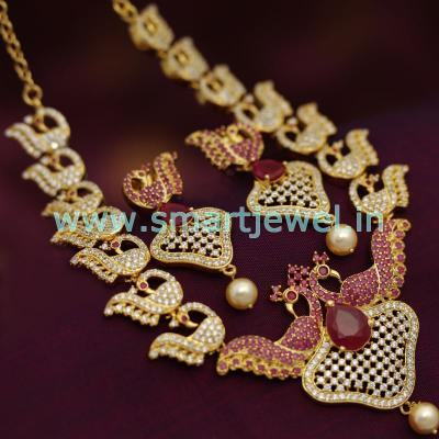 diamond-finish-stylish-trendy-gold-plated-cz-necklace-traditional-design-jewellery-online-fashion