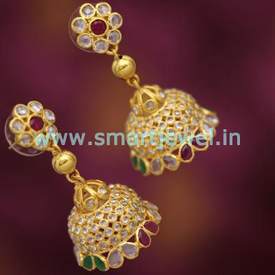 uncut-diamond-finish-gold-plated-jhumka-ruby-emerald-stones-latest-jewellery-buy-online