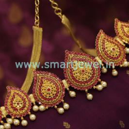 one-gram-gold-plated-ruby-emerald-mango-design-kamarpatta-oddiyanam-collections-online